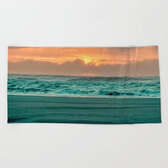Turquoise Ocean Pink Sunset Beach Towel