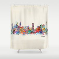 liverpool Shower Curtains featuring liverpool city skyline by bri.buckley