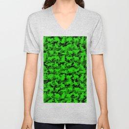 Bright Neon Green Catmouflage Unisex V-Neck