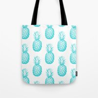 pinapple Tote Bags featuring Teal Pineapple by CumulusFactory