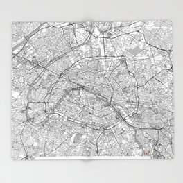 Paris Map Line Throw Blanket