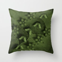 Camouflaged butterflies and flowers in green Throw Pillow