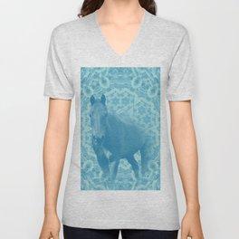 horse and wattle mandala in blue Unisex V-Neck