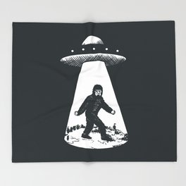Bigfoot abducted by UFO Throw Blanket