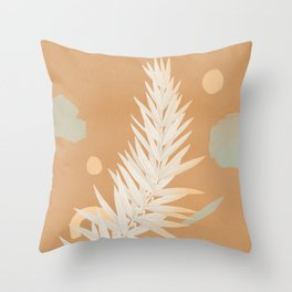 White leaf pointing the sky Throw Pillow