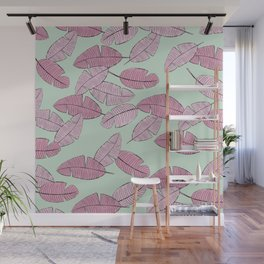 Palm leave boho summer pop ibiza party mint pink Wall Mural