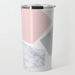 Blush, gray & marble geo Travel Mug