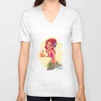 hawaiian V-neck T-shirts featuring hawaiian girl by Melissa Ballesteros Parada