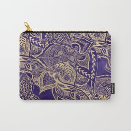 Gold hand drawn floral lace mandala on purple watercolor peacock Carry-All Pouch
