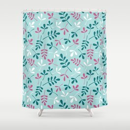 Assorted Leaf Silhouettes Teals Pink White Pattern Shower Curtain