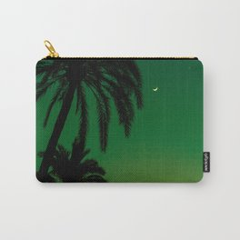 Tropical Palm Tree Silhouette Green Ombre Sunset Crescent Moon At Night Carry-All Pouch
