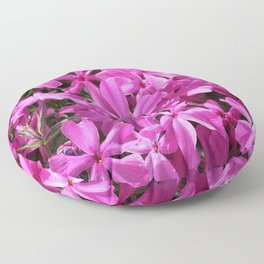 Romantic Bright pink, violet blooming and creeping phlox flower Floor Pillow