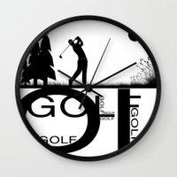 golf Wall Clocks featuring Golf, golf, golf! b&w by South43