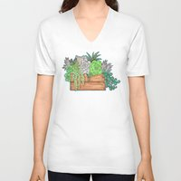 succulents V-neck T-shirts featuring Succulents by Little Lost Garden