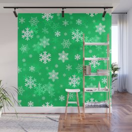 Light Green Snowflakes Wall Mural