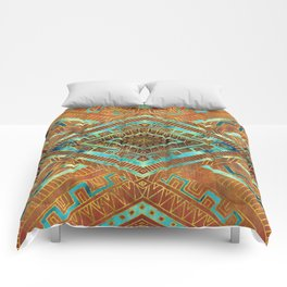 Tribal  Ethnic Boho Pattern burnt orange and gold Comforters