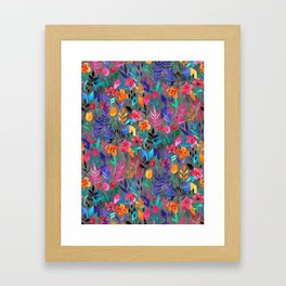Popping Color Painted Floral on Grey Framed Art Print
