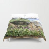 kentucky Duvet Covers featuring Tudor House on Kentucky Avenue by Shelley Ylst Art