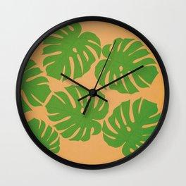 Palms green leaves tropical monstera plants  Wall Clock
