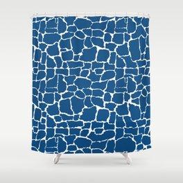 Classic Blue Giraffe Shower Curtain