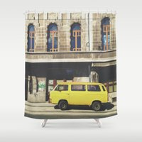 yellow submarine Shower Curtains featuring Yellow submarine by monicamarcov