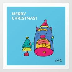 Santa pig Art Print