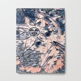 Flower Venom Black and White Metal Print