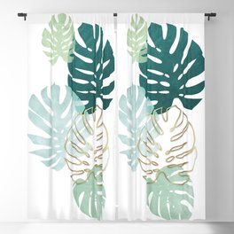 Tropical minimal / green, turquoise and gold monstera Blackout Curtain