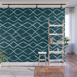 Tropical Dark Teal Inspired by Sherwin Williams 2020 Trending Color Oceanside SW6496 Tribal Chevron Horizontal Stripe Pattern Wall Mural
