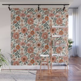 70s flowers - 70s, retro, spring, floral, florals, floral pattern, retro flowers, boho, hippie, earthy, muted Wall Mural