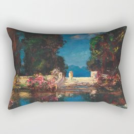 The Terrace (Secret Garden by the Lily Pond) by Thomas Mostyn Rectangular Pillow