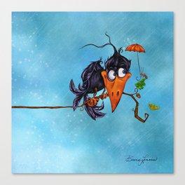 A Crow in the Rain Canvas Print