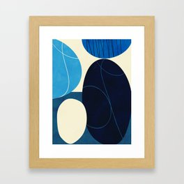 mid century abstract blue Framed Art Print