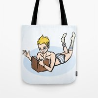 bookworm Tote Bags featuring Bookworm by ivanecky