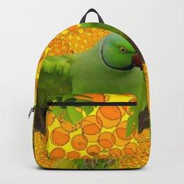 MAGNIFICENT GREEN PARROT GOLD JUNGLE MODERN ART Backpack