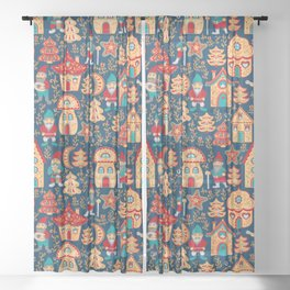 Fairy gnomes and magic houses.  Christmas trees, months and stars. Seamless Pattern in folk style. Sheer Curtain