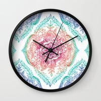 indian Wall Clocks featuring Indian Ink - Rainbow version by micklyn