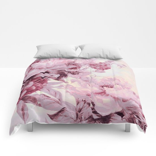 soft pink bouquet Comforters