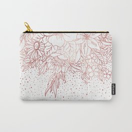 Rose gold hand drawn floral doodles and confetti design Carry-All Pouch