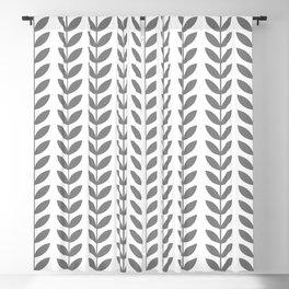 Grey Scandinavian leaves pattern Blackout Curtain