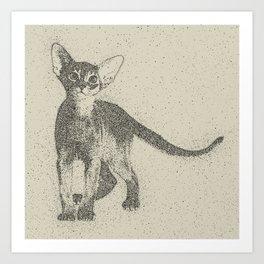 Abyssinian kitten dotted art Art Print