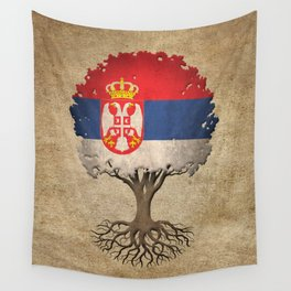 Vintage Tree of Life with Flag of Serbia Wall Tapestry
