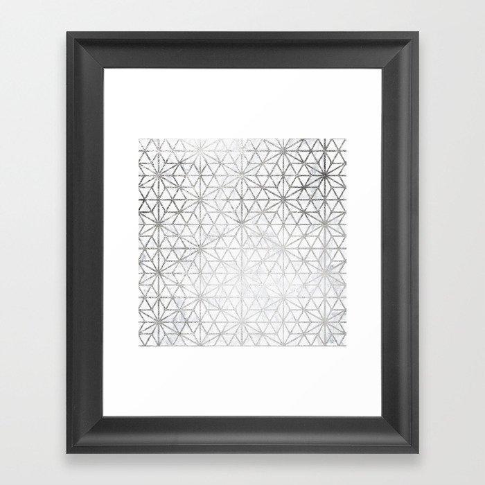 Modern silver stars geometric pattern Christmas white marble Framed ...