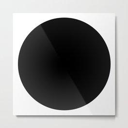 Black round circle dot — Modern minimal geometric art — Contemporary abstract minimalist design Metal Print