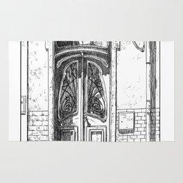 Old Door-Urban Landscape-Victorian illustration style-Lisbon-Portugal Rug