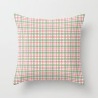 preppy Throw Pillows featuring Preppy Plaid by Laura