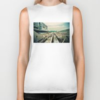 train Biker Tanks featuring Train station by Sookie Endo