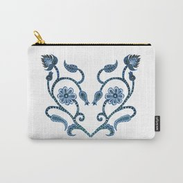 Blue Paisley Heart Carry-All Pouch