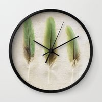 aelwen Wall Clocks featuring Green Feathers by Pure Nature Photos
