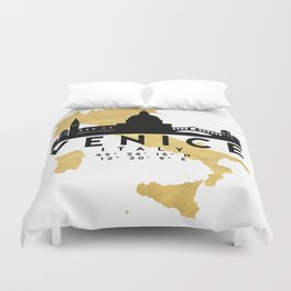 VENICE ITALY SILHOUETTE SKYLINE MAP ART Duvet Cover